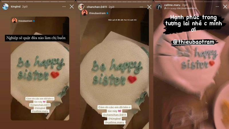 """Thiều Bảo Trâm cùng những người bạn cùng thổi bánh kem có dòng chữ """"Be Happy sister"""""""
