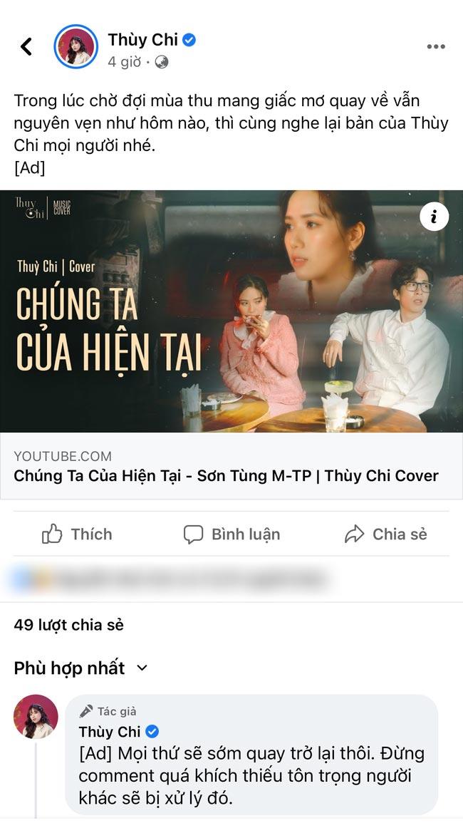 Bất ngờ tài khoản facebook Thùy Chi chia sẻ lại cover MV của Sơn Tùng, hành động này gây nhiều tranh cãi