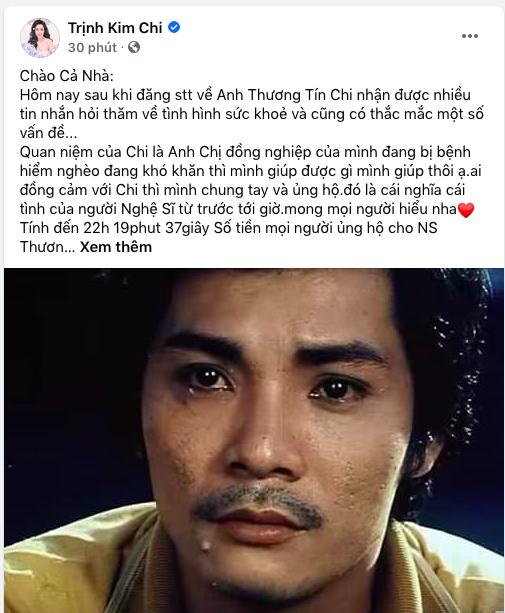Nghệ sĩ Trịnh Kim Chi cập nhập liên tục số tiền mọi người giúp đỡ nghệ sĩ Thương Tín