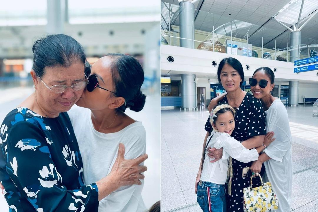 Đoan Trang ôm chầm lấy mẹ và người thân giữa sân bay