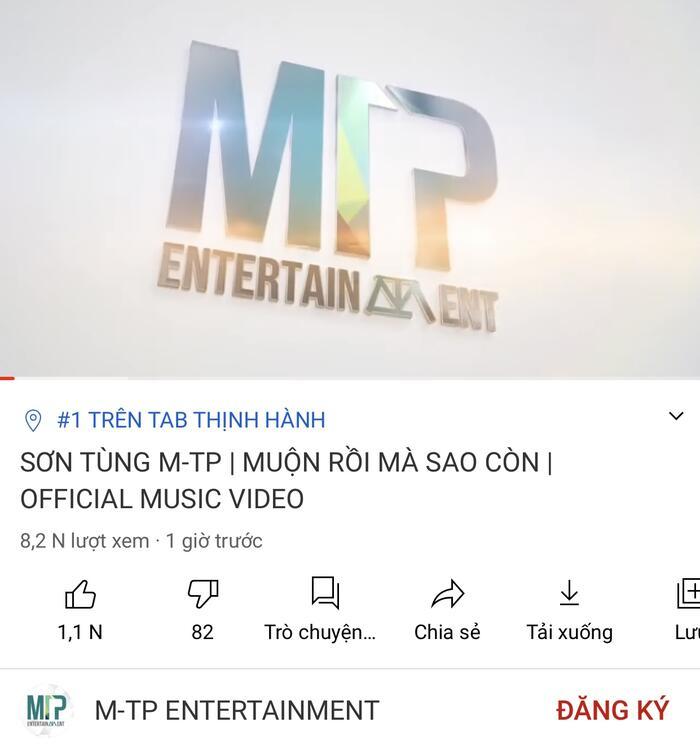 Thông tin mv của Sơn Tùng top 1 trending không đúng sự thật