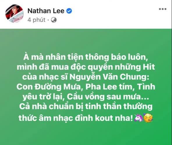 """Nguyên văn chia sẻ việc sở hữu những tác phẩm """"hot hit"""" của Cao Thái Sơn được sáng tác bởi Nguyễn Văn Chung"""