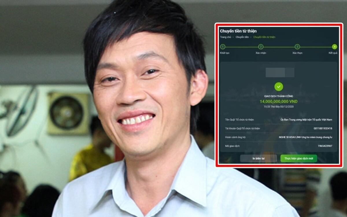 Hình ảnh được cocongj đồng mạng cho rằng Hoài Linh đã chuyển khoản14 tỷ ủng hộ miền Trung