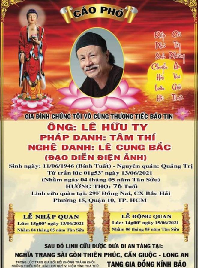 Đạo diễn Lê Cung Bắc qua đời, hưởng dương 76 tuổi