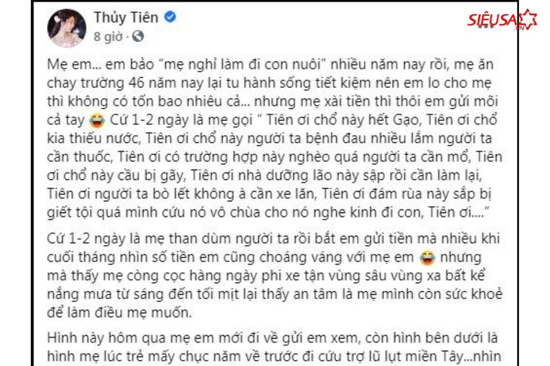 Chia sẻ mới nhất của Thủy Tiên về việc từ thiện của mẹ mình